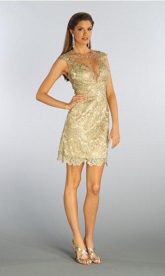 Envío Gratis, promoción formal 2020, vestidos elegantes para baile de fin de curso con cuentas, vestido de dama de honor largo hasta la rodilla de encaje corto dorado
