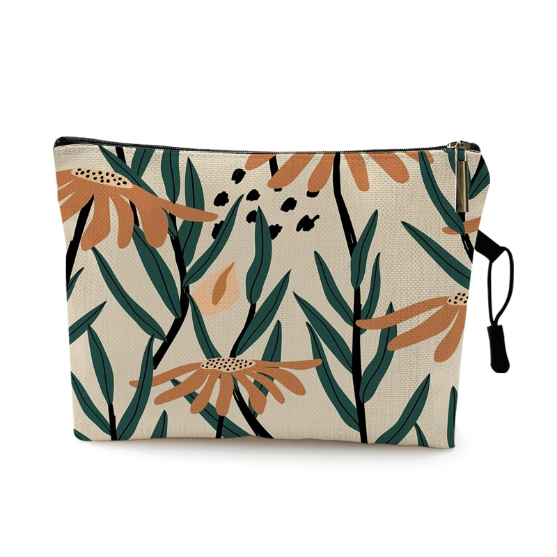 Plant Sun Moon Print Cosmetic Case Woman Lady Makeup Bag Portabletravel Beach Storage Bag Best Gift