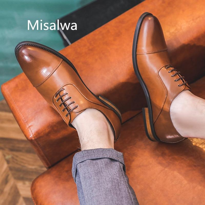 Misalwa Inglaterra estilo Hombre Formal Zapatos Oxford Zapatos marrón negro amarillo Oficina vestido Zapatos altos de cuero Zapatos Hombre