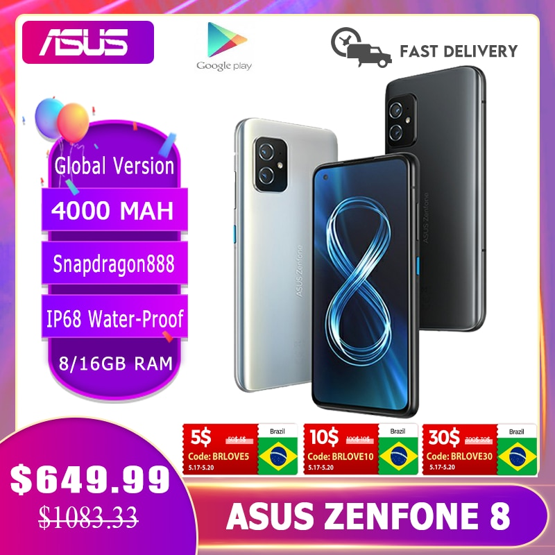 2021 NEW ASUS Zenfone 8 Global Version Snapdragon 888 8/16GB RAM 128/256GB ROM IP68 Water-Proof Android OTA 5G Cellphone