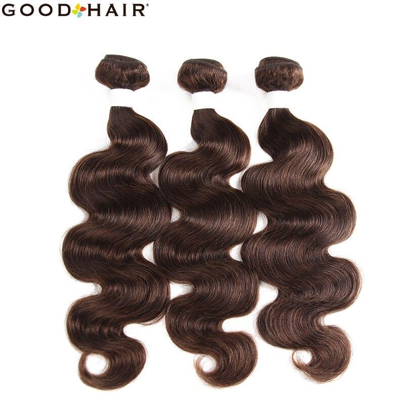 Brazilian Medium Brown Human Hair Bundles 8-26 Inch Body Wave Non-Remy Human Hair Weave Bundles 1/3/