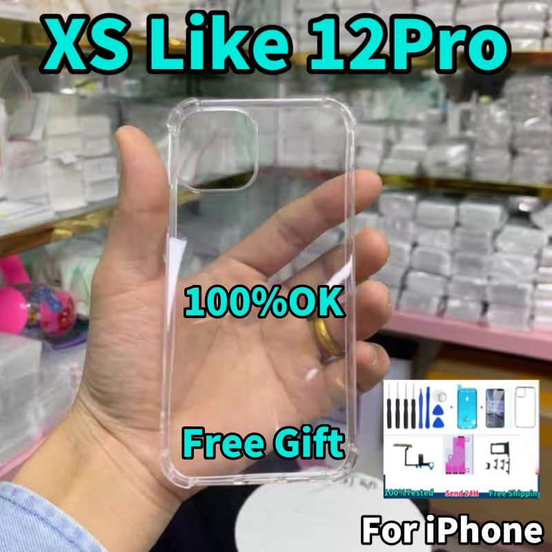 DIY Conversion housing for iPhone XS to 12 Pro xs Like 12 Pro Back Cover ,X into 11Pro With flexible cable and side key plus enlarge