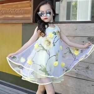 Summer Lace Kids Dress Fashion Trend Vest Dress For Girls Casual Flower Kids Dress Children Clothes For Wedding Birthday Dress