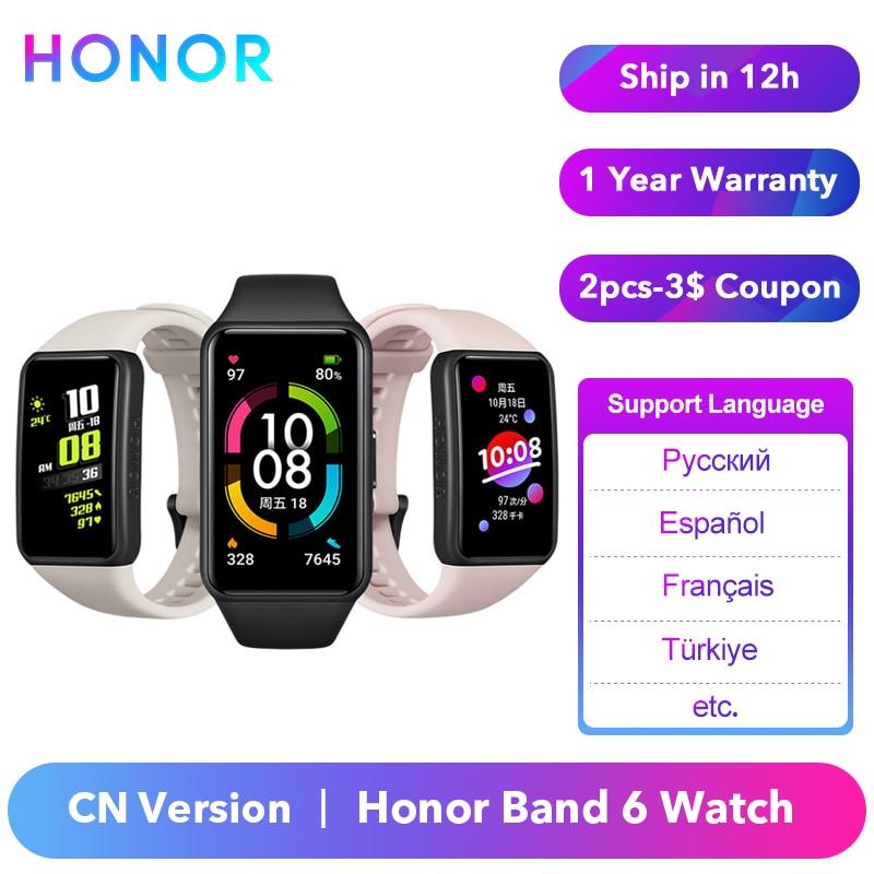 Original Honor Band 6 Armband Smart Band Uhr CN Version Herz Rate Monitor Blut Sauerstoff Spo2 Touchscreen Amoled Wasserdicht