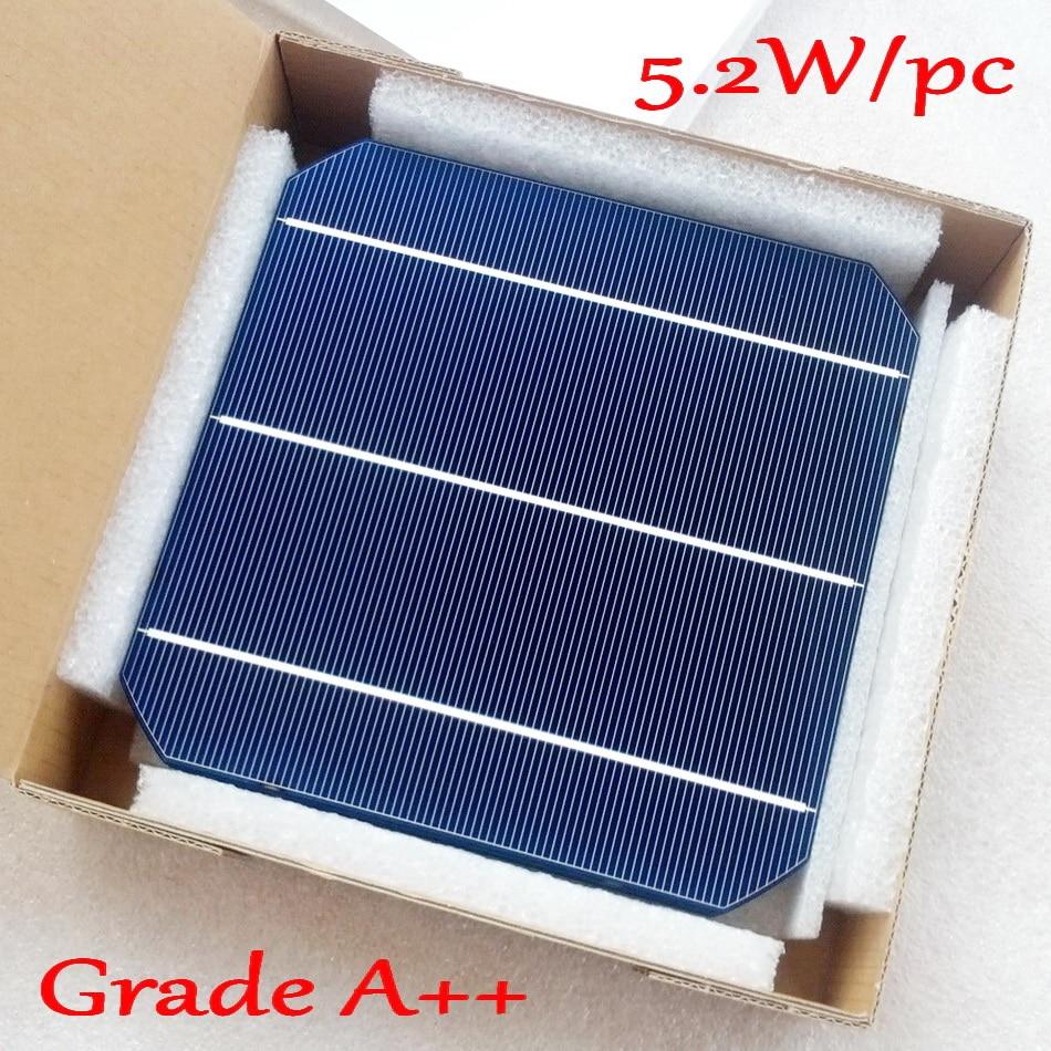 5,2 W 156mm monokristalline Mono solarzelle 6x6 + genug PV Band (10m Tab Draht + 3m Schienen Draht) für 52w Solar Panel