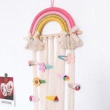 INS Nordic Rainbow Tassel Wall Hanging Ornaments Hair Bows Storage Belt Girls Room Decoration Hair Clips Hanger Organizer Strip