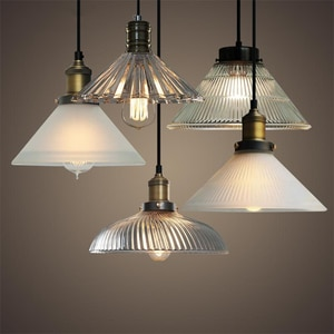 Retro Loft Pendant Lights Vintage Industrial Lamps Glass Lampshade Lamparas Indoor Lighting Luminaire Suspension LED E27 Bulb