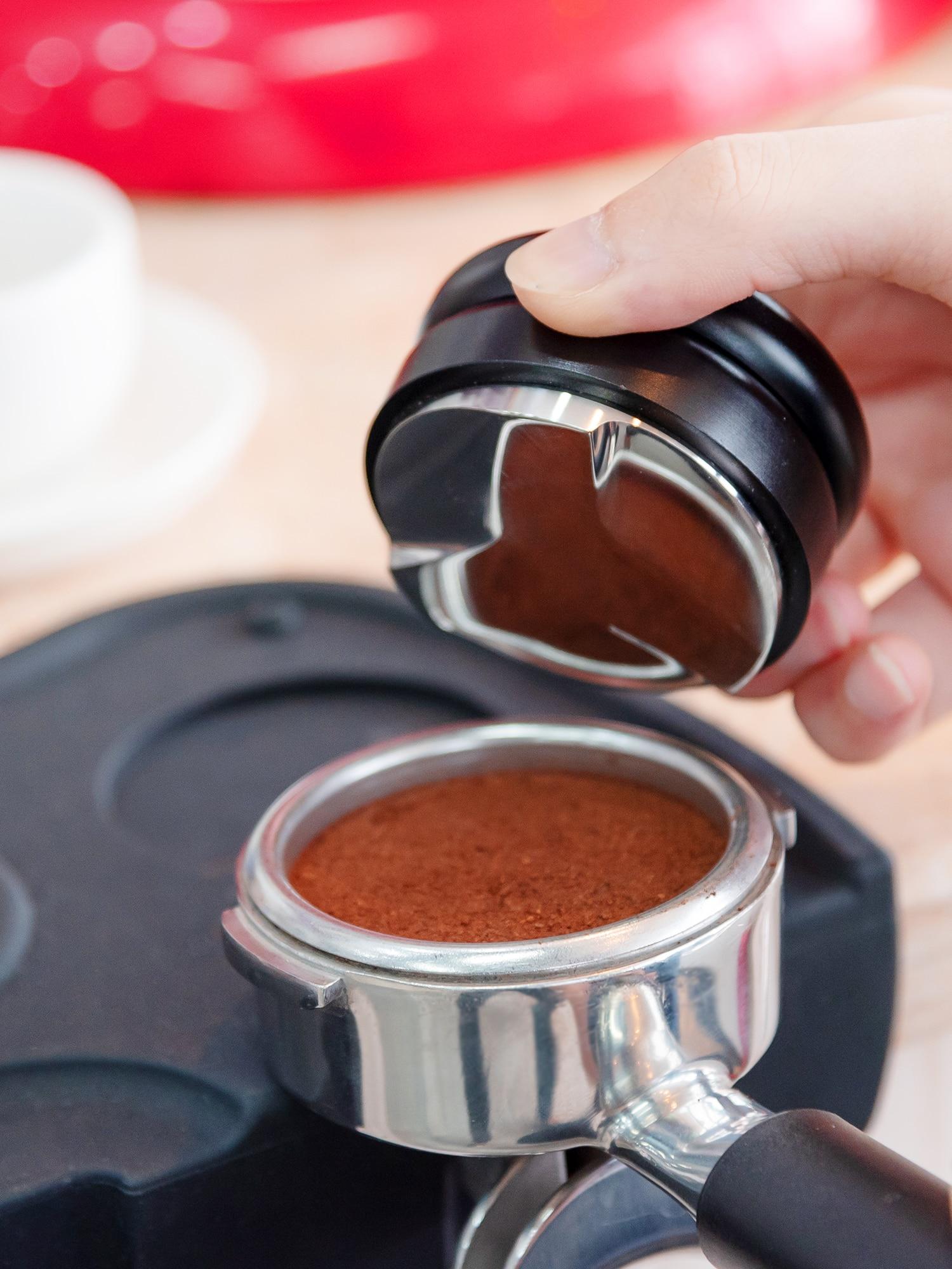 58 مللي متر Edelstahl Kaffee موزع & العبث مستوي مكرون كاففي فول بريس Pulver einstellper Tiefe-اسبريسو اليد