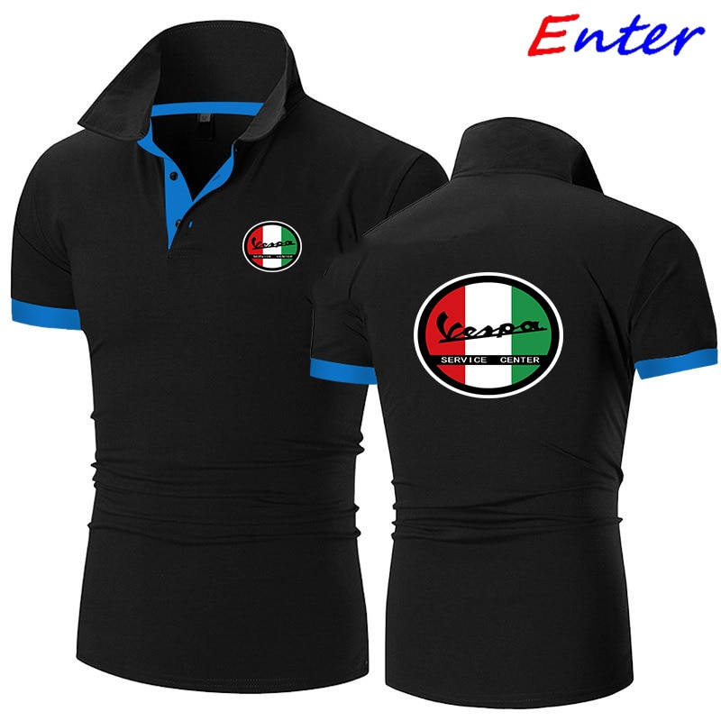 Рубашка-поло мужская летняя эластичная рубашка-поло с логотипом автомобиля Vespa мужской костюм-поло с короткими рукавами Высококачественна...