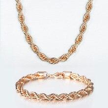 Ensemble de bijoux en or Rose 585, 5/6mm, corde torsadée, chaîne à maillons, pour femmes et hommes, meilleurs cadeaux de fête de mariage, DCS19