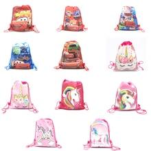 Disney Cars Unicorn Non-woven Fabrics Travel Pouch Storage Clothes Shoes Bags Cotton Drawstring Bags