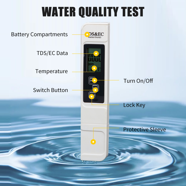 Тестер воды er метр 3 в 1 TDS мотор тест 0 9990 ppm Цифровой EC LCD Чистота PPM питьевой