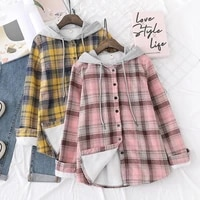 winter velvet hoodies womens thick plaid shirts long sleeve keep warm casual female clothes outwear coat hoody jacket
