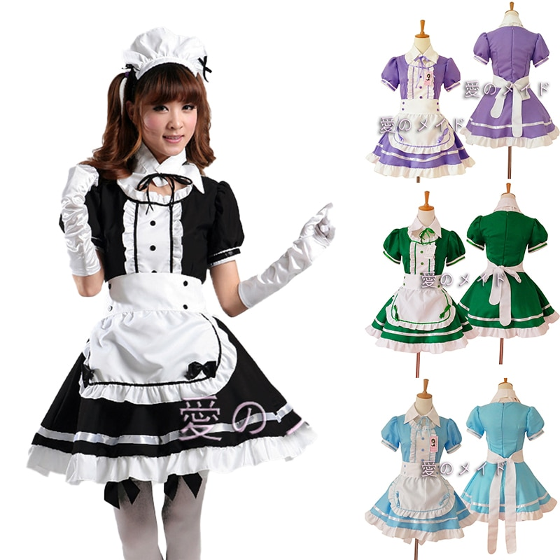 China Embroidery #30 2021 Lolita Cute Apron Maid Restaurant Dress Maidservant Uniform Outfits Anime Cosplay Costume freee shipping cos anime ears cats hairpins diffuse maid catwoman lolita soft cute sister card