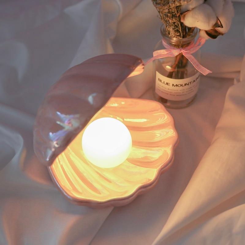Ins, японский стиль, керамический перламутровый Ночной светильник в виде ракушки, стример, Русалка, фея, ночник, лампа для прикроватной тумбоч...