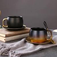 american style black gold gradual change ceramic coffee mug set with saucer spoon british afternoon teacup breakfast milk cup