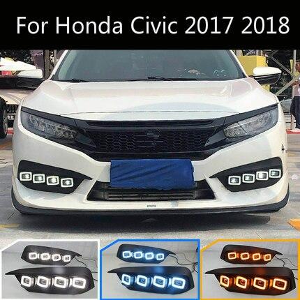 Светодиодный дневный ходовой сигнал для Honda Civic 2017 2018, 12 В, новейший дизайн