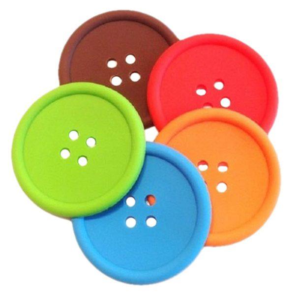 Juego de 4 posavasos coloridos de silicona con botón posavasos para café