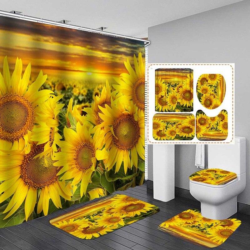 샤워 커튼 세트 해바라기 샤워 커튼 및 깔개 세트 해바라기 욕실 커튼 욕실 매트 카펫 화장실 장식