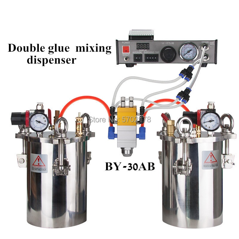 BY-30AB مزدوجة اسطوانة مزدوجة السائل شفط نوع قابل للتعديل AB مزدوجة السائل الاستغناء التلقائي السائل الغراء موزع مجموعة