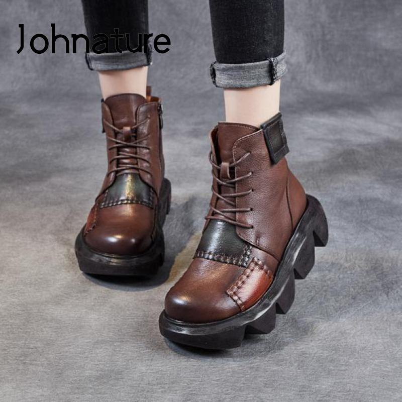 Johطبيعة-حذاء نسائي من الجلد الطبيعي ، حذاء قطيفة ، ألوان مختلطة دافئة ، حذاء منصة ، سحاب ، صناعة يدوية ، 2021