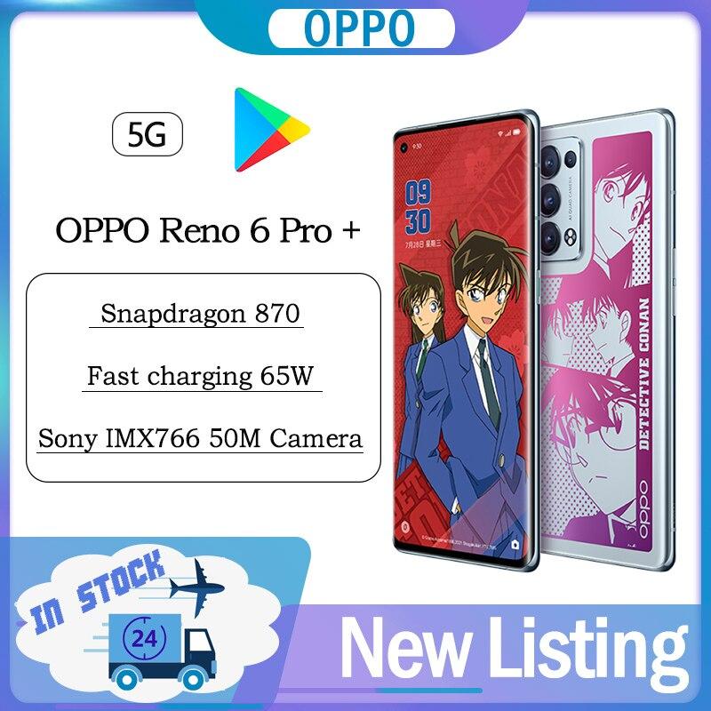 Перейти на Алиэкспресс и купить Оригинальный смартфон OPPO Reno 6 Pro + детектив Conan Ограниченная серия Смартфон Snapdragon 870 50 МП камера 65 Вт SuperVOOC 90 Гц NFC