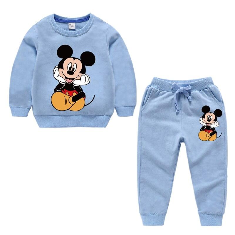 Conjunto de ropa para niños y niñas, conjunto deportivo de algodón con sudadera y pantalones de Mickey para otoño, traje de chándal, ropa para niños