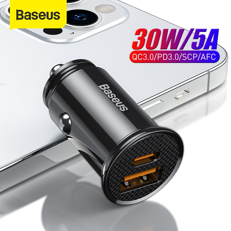 Baseus 30W USB Car Charger Quick Charge 4.0 3.0 FCP SCP AFC USB PD Fast Charging Car Phone Charger F