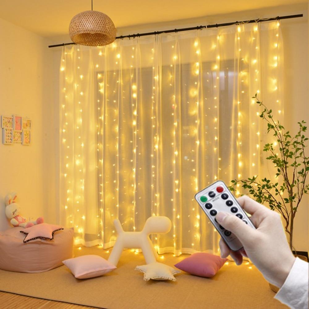 سلسلة أضواء LED للتحكم عن بعد ستارة بطارية USB ، أضواء خرافية LED للكريسماس لنافذة المنزل والديكور الخارجي
