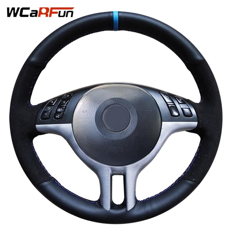 WCaRFun Hand-Genäht Aus Echtem Leder Schwarz Wildleder Blau Marker Auto Lenkrad Abdeckung für BMW E46 325i E39 E53 x5