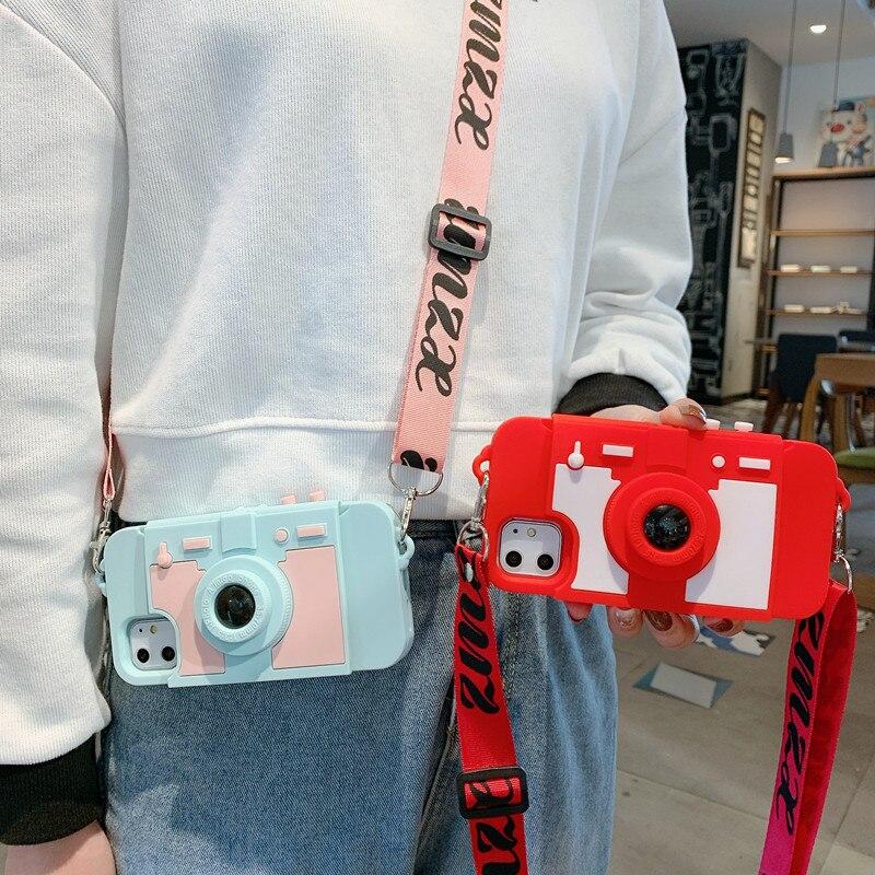آيفون 6s 6 8 7 Plus 11 11Pro Max X XR XS Max جراب هاتف FHX-LY كاميرا جميلة ثلاثية الأبعاد لينة سيليكون crossbody حزام جراب هاتف