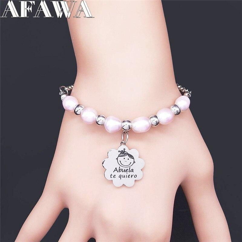 Pulsera de perlas de agua dulce rosa para mujer, brazalete de acero...