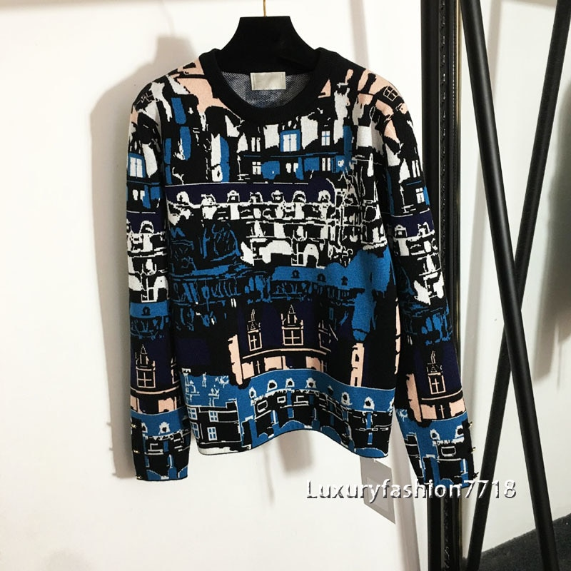 High end women fashion Pattern Vintage jacquard Round neck long sleeve sweater Side zipper fork Design pullover sweaters clothes enlarge
