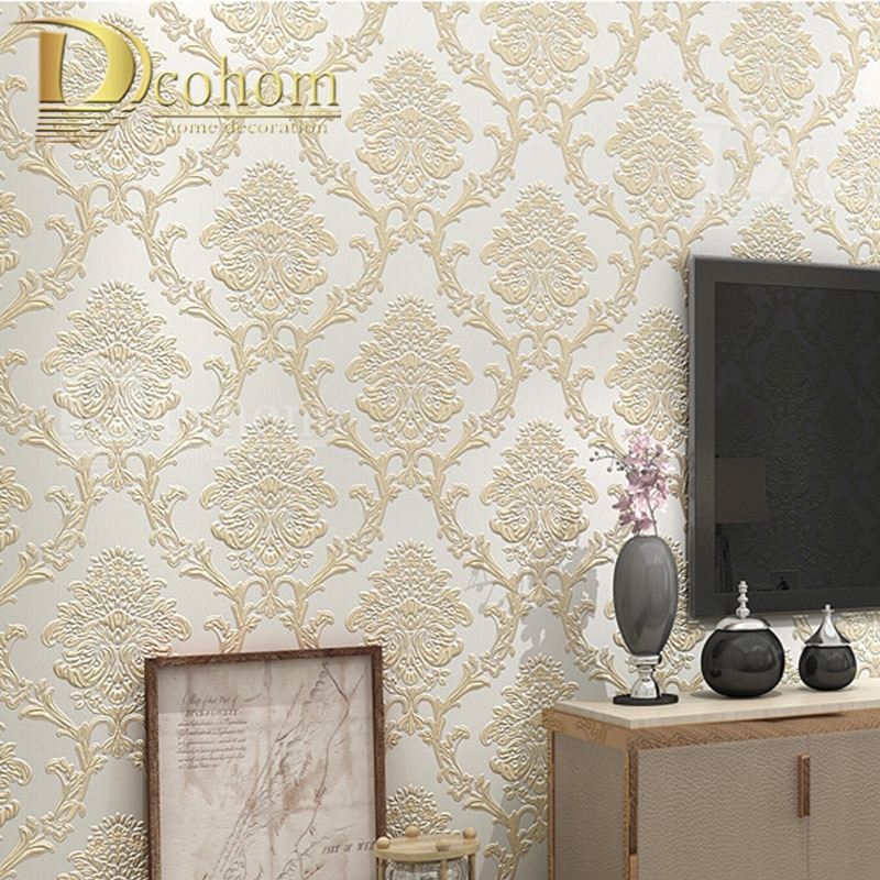 Европейская 3D рельефная Дамасская дизайнерская настенная бумага домашний декор для спальни гостиной Нетканая Классическая настенная бумага для стен в рулоне