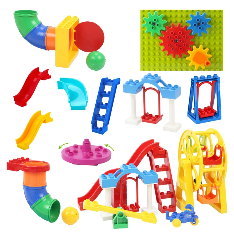 Big Particles Building Blocks Assemble Accessories child Toys Compatible with Duplo amusement park P
