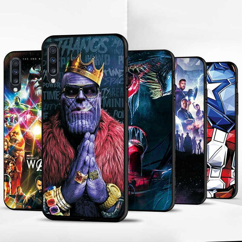 Para Samsung A10 A20 A40 A60 A30 funda Thanos Iron Man negro TPU bolsas de teléfono para Samsung A50 A70 funda cubierta en A30S A50S A70S A750