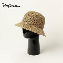 Nuevo sombrero de verano de primavera con forma de cúpula de césped Natural, sombrero de paja tejido a mano, gorra de mujer, sombreros de sol casuales de moda para mujer