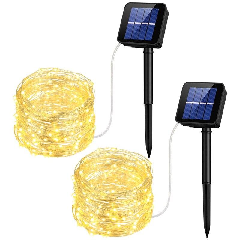 Cadena de luz Led solar LED100 leds/200 leds/300 leds 8 funciones impermeable al aire libre día de Navidad luces decorativas stri