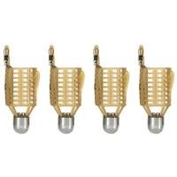 4pcs fishing bait cage lure trap basket fishing feeder holder lightweight for wild fishing light brown 40g