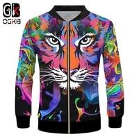 ogkb brand new tiger zipper jacket men 3d print colorful paint hip hop cool loog sleeve funny design casual coat oversized