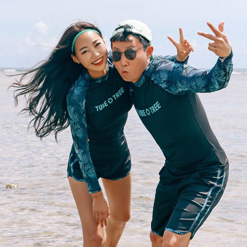 Bikinis para mujeres 2019 verano playa traje de baño mujer Rushguard traje ropa para surfing Surf manga larga a prueba de sol hombres pantalones Coreanos