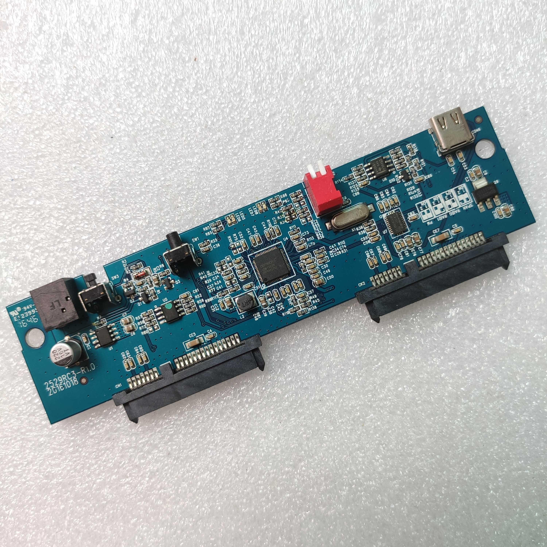 نوع c القرص صفيف 2.5 بوصة صندوق قرص صلب محول بطاقة USB3.1 المنفذ التسلسلي SATA ثنائي القرص ASM1352R
