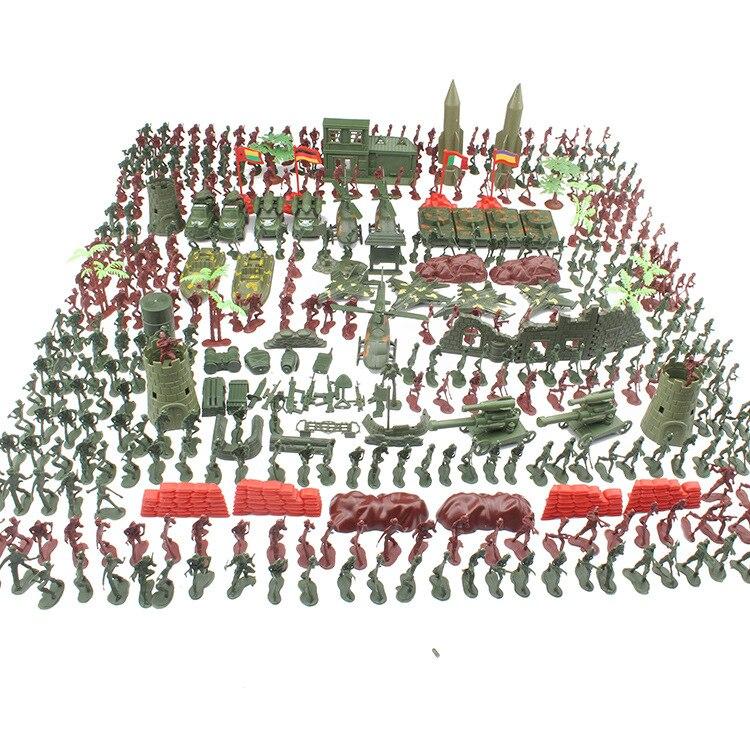 Zhenwei الحرب العالمية II الجنود نموذج مع اليد حقيبة 1 مجموعة 519 قطعة الأطفال البلاستيك العسكرية سلسلة الصبي لعبة الرمال الجدول نموذج