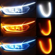2pcs Led DRL Car Daytime Running Lights Flexible Waterproof Auto Turn Signal Yellow Brake Side Headl