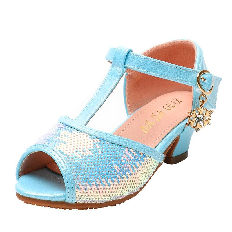 الفتيات الصنادل الصيف موضة الترتر فلاش عالية الكعب الأطفال الفتيات أحذية الأميرة المفتوحة تو الاطفال أحذية رياضية طفل الصنادل SJD029