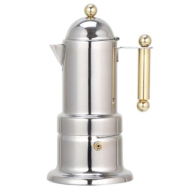 200 مللي 4 أكواب المقاوم للصدأ وعاء لتقديم القهوة من الفولاذ موكا صانع القهوة إبريق الشاي تصفية ماكينة قهوة أوتوماتيكية ماكينة إسبريسو