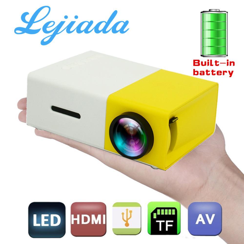 LEJIADA YG300 LED Mini proyector incorporado 1300mAh batería 320x240 píxeles soporta 1080P proyector portátil reproductor de medios para el hogar