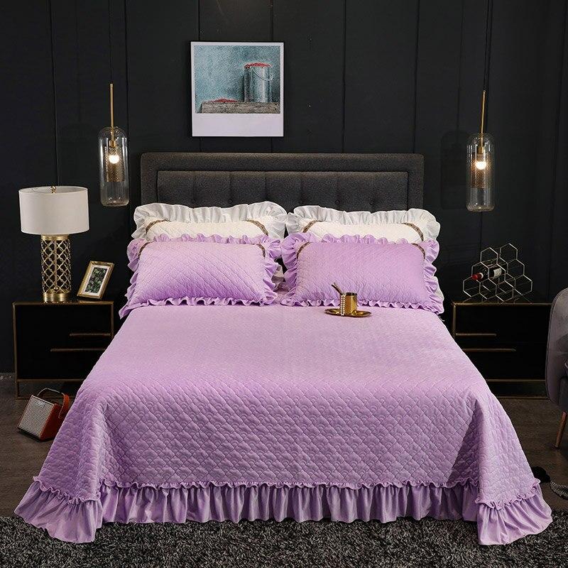 طقم سرير مبطن من الصوف المخملي الفاخر ، بنفسجي ، أبيض ، أصفر ، أزرق ، غطاء مرتبة ، غطاء وسادة
