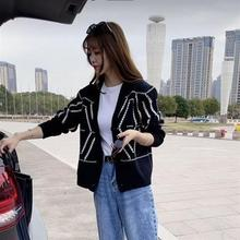 Black and white diamond check cardigan loose jacket retro early spring new women's sweater sweater E