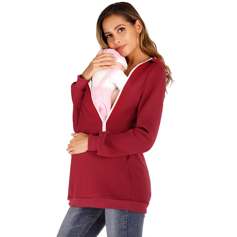 2021 Spring Women Hooded Clothes Female Pregnancy Coat Zipper Sweater Solid Sweatshirt Breastfeeding Shirt Maternity Clothes enlarge